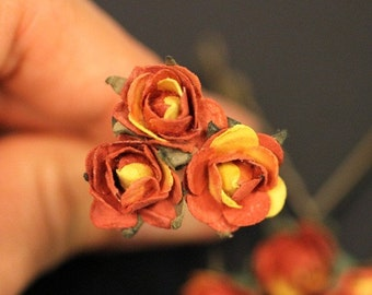Cactus Rose, Bridal Hair Accessories, Wedding Hair Accessory, Bridesmaid Hair Flower, Burnt Orange Hair Flower, Brass Bobby Pin - Set of 3