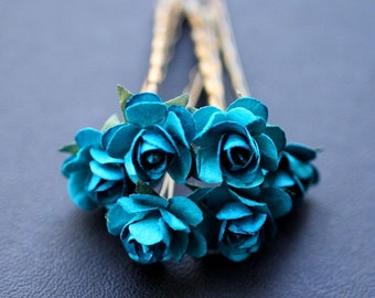 Winter Rose, Bridal Hair Accessories, Wedding Hair Accessory, Something Turquoise Blue Hair Flower, Brass Bobby Pin - Set of 6