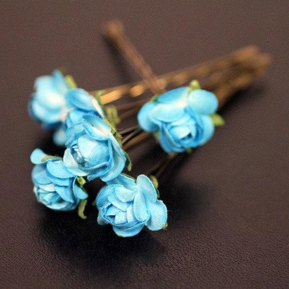 Bridal Hair Accessories, Wedding Hair Flower, Something Blue Hair Flower, Bridesmaid Hair Accessory, Brass Bobby Pin - Set of 6