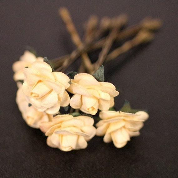 Desert Rose Bridesmaid Hair Accessory - Ivory Paper Flower Brass Bobby Pin - Set of 6
