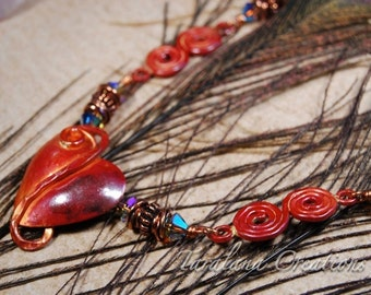 Copper Heart Pendant Necklace with Copper and Swarovski Crystals