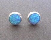 Opal stud earrings , opal post earrings silver sterling,blue opal earrings ,8mm