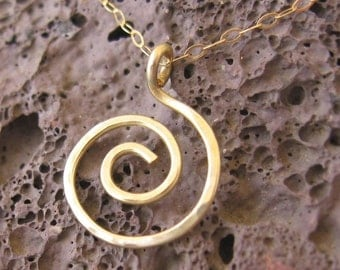 14k Solid  Gold spiral ,Hammered pendant necklace-LOWEST PRICE