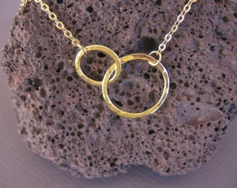 14k solid gold Hammered yellow gold 2 endless hoops necklace. circle necklace