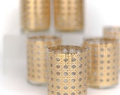 set of 8 gold wicker glasses