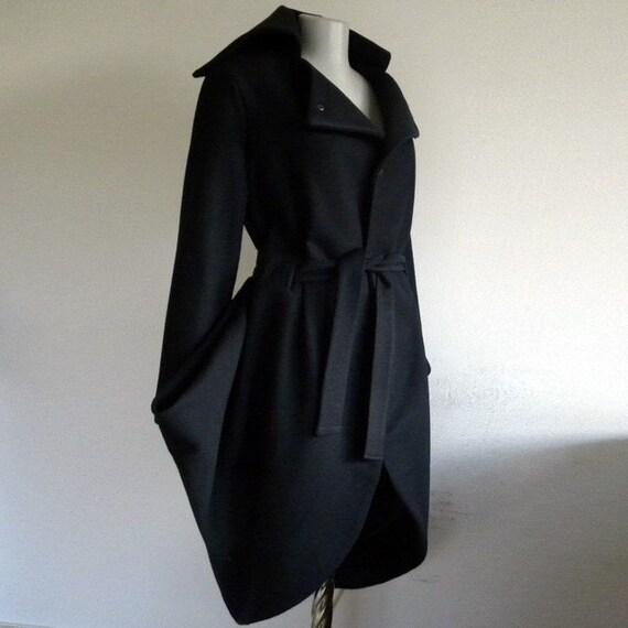 Charming modern black cashmere coat tulip