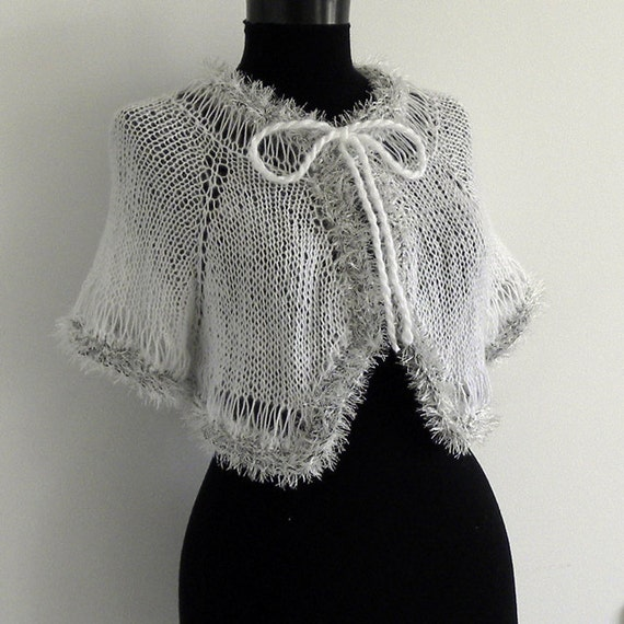 Free Knitting Pattern Short Jacket : FREE SHIPPING Hand knit short white bolero jacket by sunsfashion