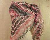 Dance With Dawn / Pink Grey Ivory Shawl Wedding Wrap Women Neck Warmer Cowl Crochet Triangle Shawl Bridal Accessories Fall Winter Spring