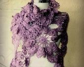 Gone With the Wind / Crochet  Lilac Shawl Wrap  / Lavander Neck Warmer / Spring Wedding Bridal Lace