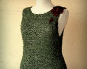 Hand Knit Top Tunic, Forest Green Sleeveless Sweater Blouse, Boho Shirt, Summer Crop Tank Top, Cotton Crew Neck  Leather Flower ( XS-S-M)