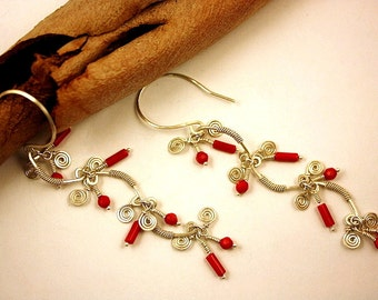 Red Coral Dangle Earrings, Boho Long Earrings, Sterling Silver 925k, Silver Wire Wrapped, Red Gemstone, Bridal Gift, Unique Gift For Her