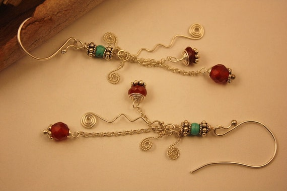 Sterling Silver Dangle  Earrings Carnelian Turquoise Earrings / Christmas Gift