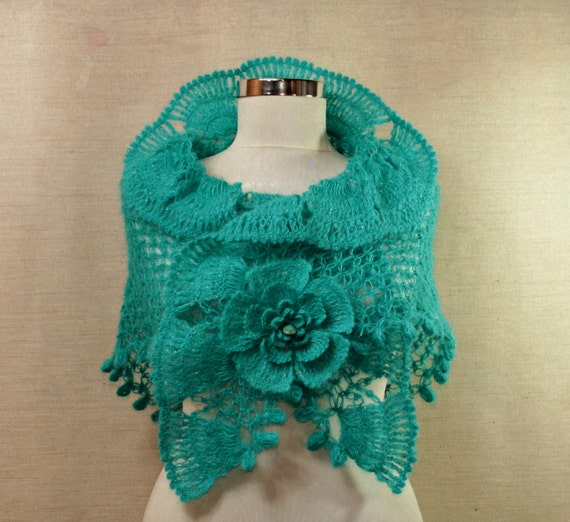 Turquoise Dreams / Crochet Shawl Wrap Silver Teal Ruffle Shawl Scarf Neck Wrap - Flower Brooch with Turquoise Bead