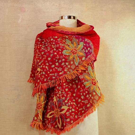 Joy of Flowers / Red Warm Shawl Cowl Wrap / Wool Woven Stole / Eco / Hand Embroidery Flowers