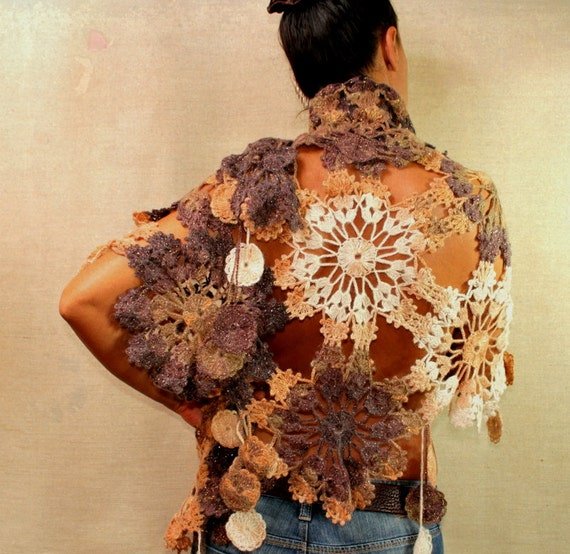 Delicate Browny / Crochet Shawl Wrap Lace Shawl Oversize Mohair Triangle Flower Shawl Ivory Gold Beige Chocolate Brown Camel