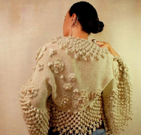 RESERVED for chloe123bear / Blossom Fairy / Champagne Wedding Bridal Shrug Bolero (S-M-L) - Knit Crochet Luxury Bridal Jacket