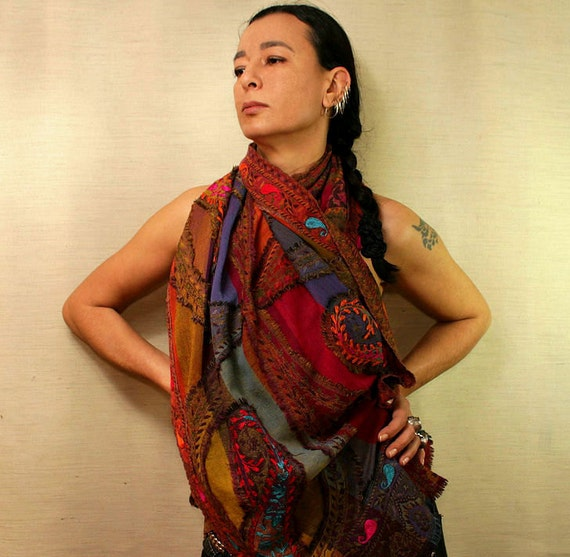 Happy Teardrops of Spring / OOAK Wool Woven Shawl / Colorful Unique Stole Wrap-Fall Fashion