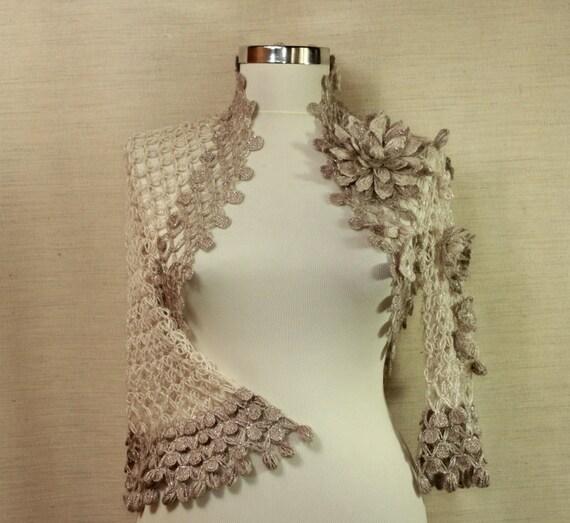 Crochet Shrug, Bridal Shrug Bolero, Lace Shrug, Silver Glitter Grey, Champagne Wedding Bolero,  Evening Bolero, Bridal Cover Up / S M L