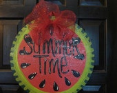 Summertime watermelon door hanger decoration sign for door wall or porch personalized