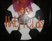 Soccer ball door decor hanger or wall decoration personalized with a Mascot, school, or family name