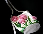 PINK CARNATION oh so spring scene tote bag Handpainted Eco Friendly Wearable Art