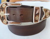 Western Leather Belt w/ Floral Embroidered  3 Piece Buckle Set in  Dark Brown