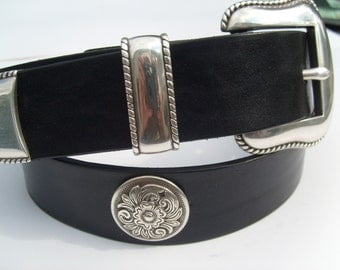 Black Western belt w/ Silver Plated Brass Buckle Set and Diablo conchos