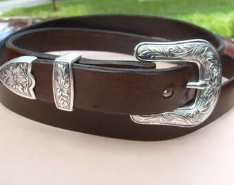 Narrow Ladies Western Belt, Chocolate Brown w/  Antiqued Silver Buckle Set, Custom Sized