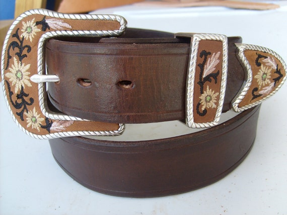 western leather belt w floral embroidered 3 buckle set