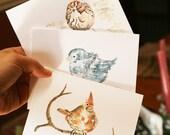 10 Custom Greeting Cards, Personalized gift, Bird Thank You Cards, Holiday cards, Winter Greeting Cards, Gift Grandmother, Bird stationery