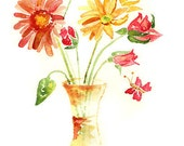 flower watercolor print, Flower painting, Flower Art Print, Whimsical Autumn Decor, Cottage Decor, red, gold, yellow