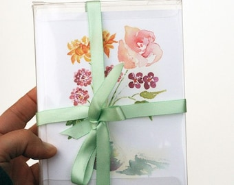 boxed notecards, art notecards, Flower stationery, gift for teacher, watercolor notecards