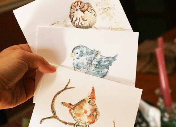 Custom Greeting, Woodland Bird notecards, Set, Printed with Watercolor Birds, Gift Grandmother, Bird stationery