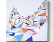 FREE Shipping -Framed Canvas Art Print - Triangles Blue and Orange
