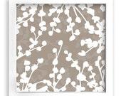 FREE Shipping - Modern Art Print - 9inx9in Floral Design Grey