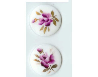 Vintage Milk Glass Hand Painted Floral Cabochons