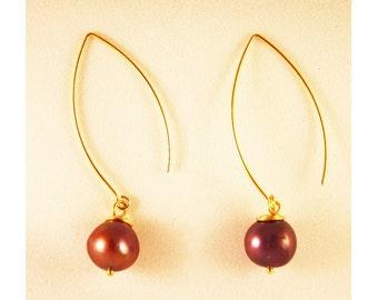 Earrings: Bronze Freshwater Pearls on Vermeil Marquise Earwires