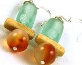 Recycled Glass Earrings, Carnelian Earrings, Eco Jewelry, Bone Earrings, Primitive Jewelry, Silver Earrings