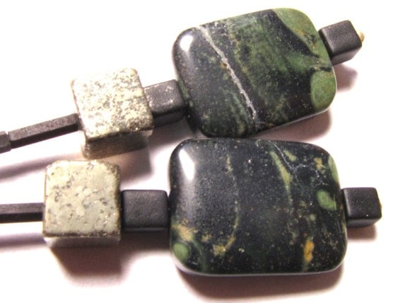 Black Jasper and Silver Earrings with Iron Pyrite Cubes