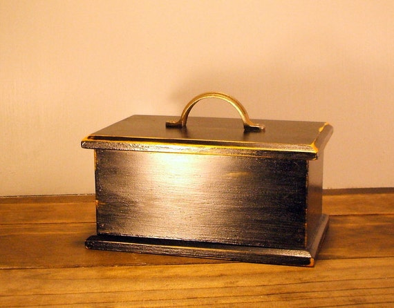Black Wooden Box with Metal Handle