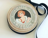 1920s Ribbon Roll Deco Graphics Black Satin Decorative Edge Antique 1930s Ribbon Spool
