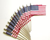 American Flags Set 13 Cloth 4th of July Patriotic Vintage Decor