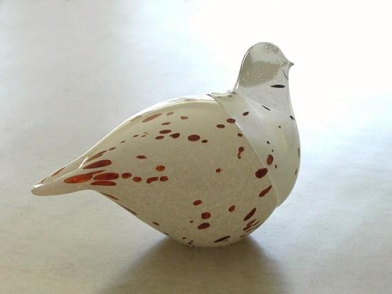 White Bird Sweden Studio Glass Hand Blown Vintage
