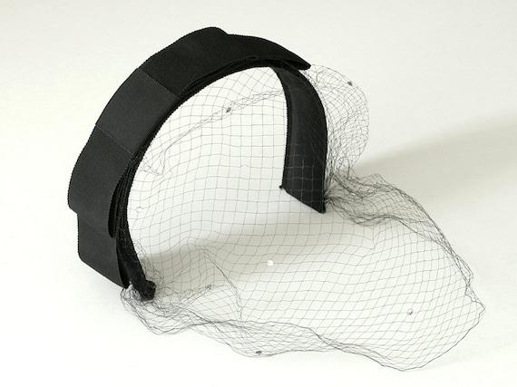 Headband Hat Black Bow Rhinestone Veil 1960s Vintage Cocktail Hat