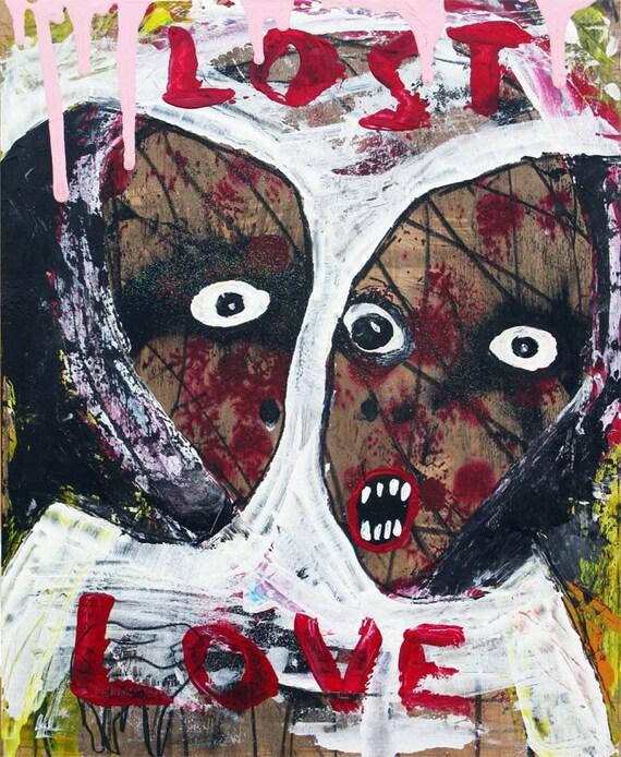Melancholy Love Painting - gothic broken heart original raw art