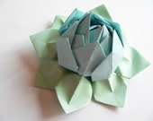 SALE  Origami Lotus Flower Decoration or Favor // Light Blue and Mint Green OOAK