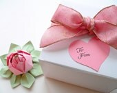 PERSONALIZED Valentine Origami Lotus Flower Blossom Pink and Leaf Green with gift box