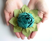Origami Lotus Flower Decoration or Favor // Peacock and Moss Green