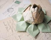 RESERVE LISTING for fitgirl1031 for  6 - Origami Lotus Flower Decoration or Favor // Cartes Postale paper