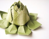 Origami Lotus Flower Decoration or Favor // made from green, cream, and gold hand-printed art paper